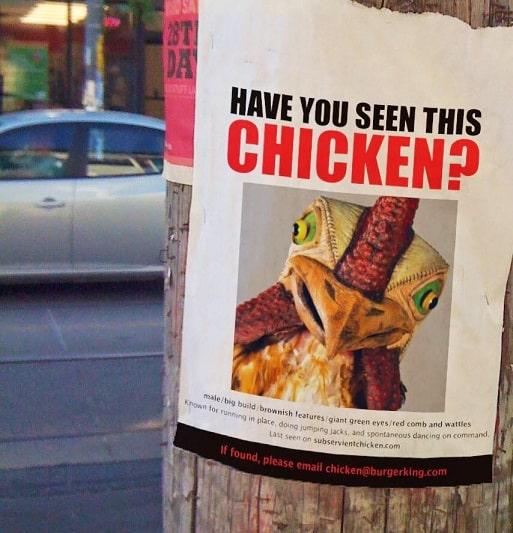 تبلیغات برگر کینگ برای ساندویچ مرغ معروفش یا همان Subservient Chicken